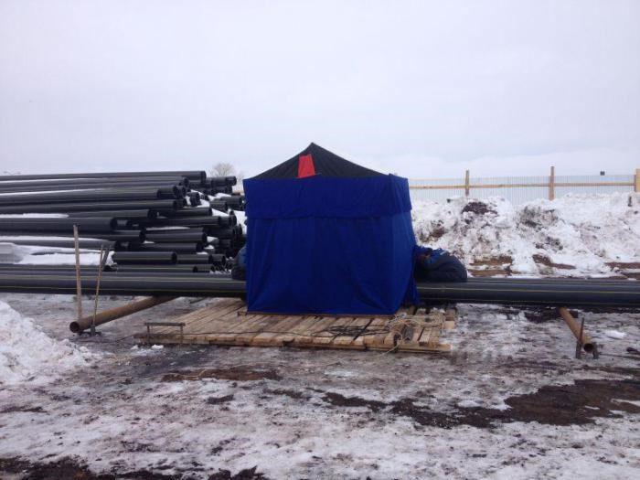 работы по сварке пнд труб зимой